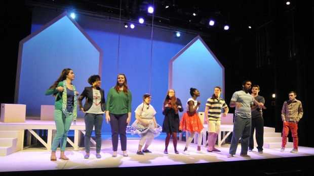 From left, Cora Kohn, Meredith White-Goode, Courtney Roque, Siara Padilla, Ariel Piper Temple, Audrey Aka, Conner Romanowski, Jose Disla, Ben Sarat and Ray Souza comprise the cast of the production 'What Happens When' at Wheaton College.