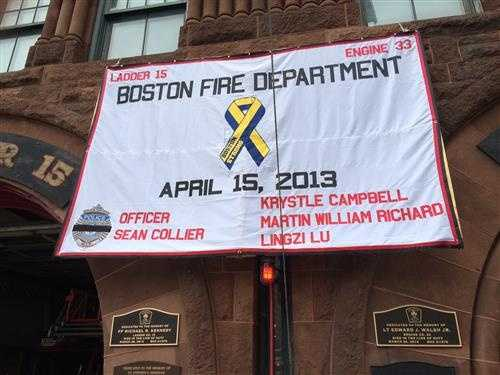 The banner on Engine 33 on Boylston Street.