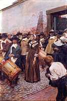 Using death as a punishment was common in the state's earliest days. In one notable case, Mary Dyer, was put to death in Boston in 1660 after she was banned by the Puritan leaders of the Massachusetts Bay Colony for being a Quaker. Dyer returned several times in defiance of anti-Quaker laws and was eventually hanged.