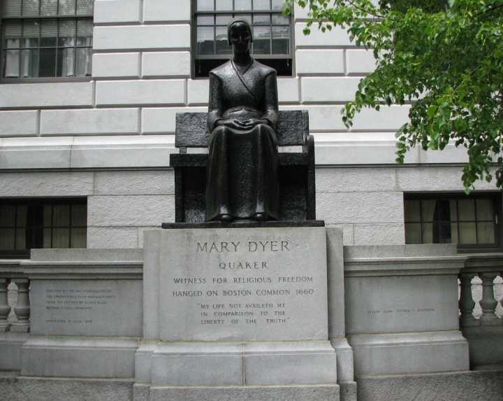 A statue of Dyer sits in front of the Statehouse as a caution against religious intolerance.