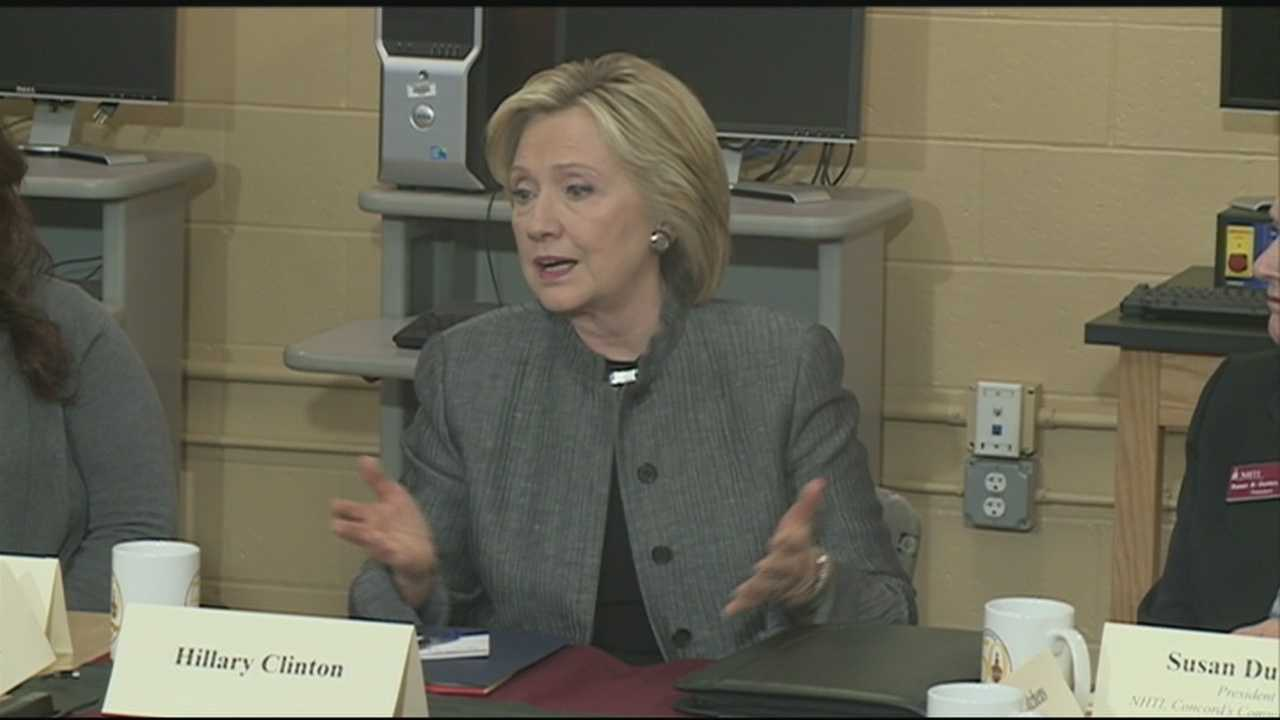 Democratic presidential candidate Hillary Clinton met with voters in Concord on Tuesday in the second day of a campaign trip to New Hampshire.