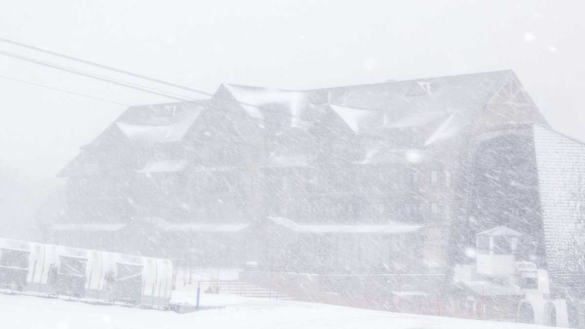 So much for spring skiing in your shorts.  Jay Peak Resort in northeastern Vermont shared these photos of the heavy snow that was falling Thursday morning.