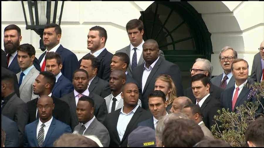 Obama honored the Super Bowl champions at a reception on the South Lawn on Thursday.