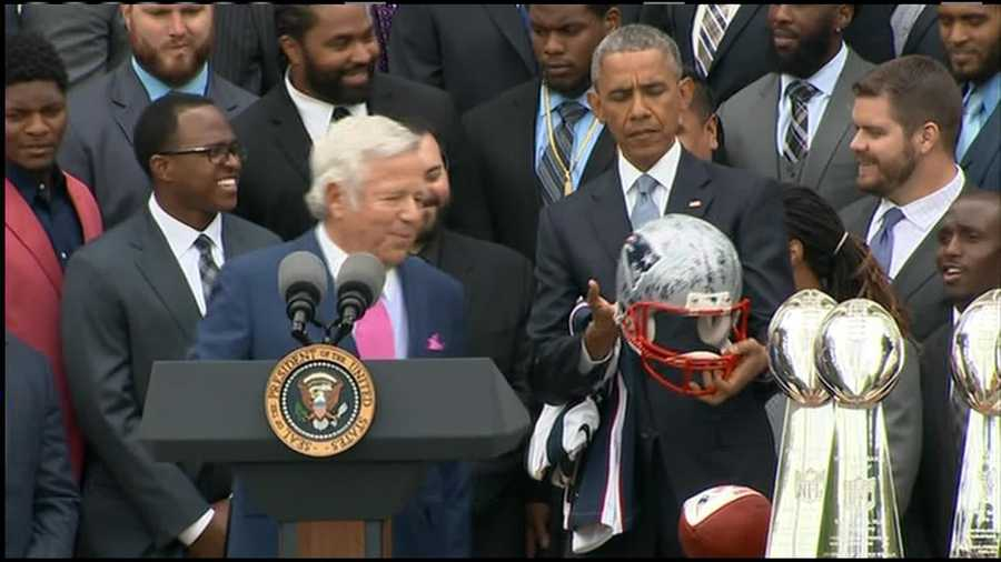 President Obama was given a helmet from the Super Bowl signed by all members of the team.