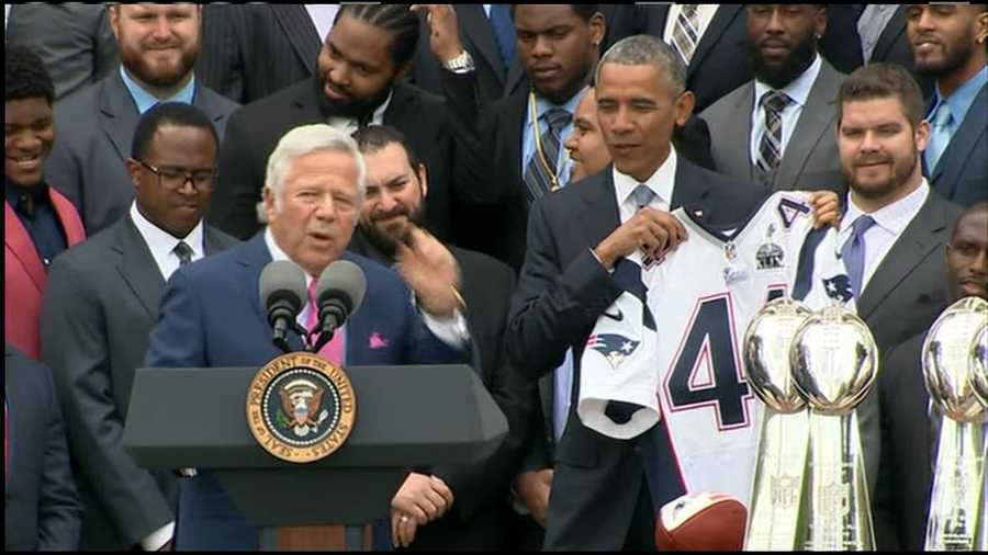Team owner Robert Kraft presented President Obama with a jersey from the Super Bowl.