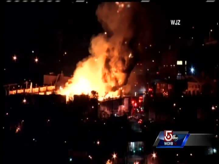 Rioters in Baltimore set fire a newly constructed building on Monday Night.