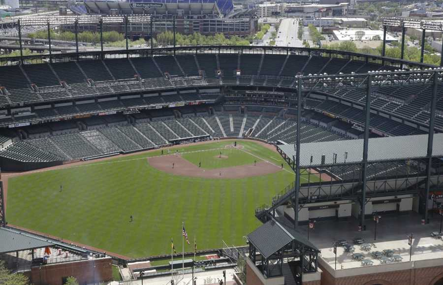 The Chicago White Sox and Baltimore Orioles play a baseball game, Wednesday, April 29, 2015, in Baltimore. The game was played in an empty Oriole Park at Camden Yards amid unrest in Baltimore over the death of Freddie Gray at the hands of police.
