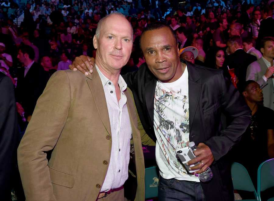 Actor Michael Keaton and boxer Sugar Ray Leonard.