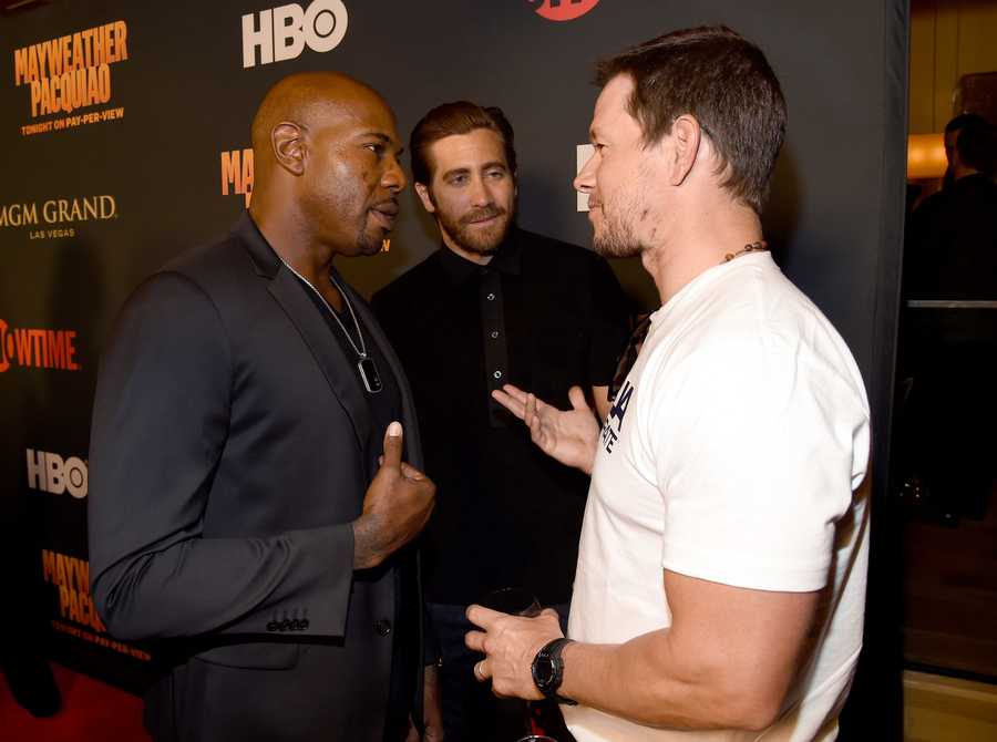 Actor and Boston-native Mark Wahlberg with actor Jake Gyllenhaal and director Antoine Fuqua.