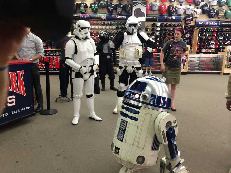 "Fenway Park celebrated Star Wars Day Monday and fans who showed up in costume received a ""Death Star"" baseball."