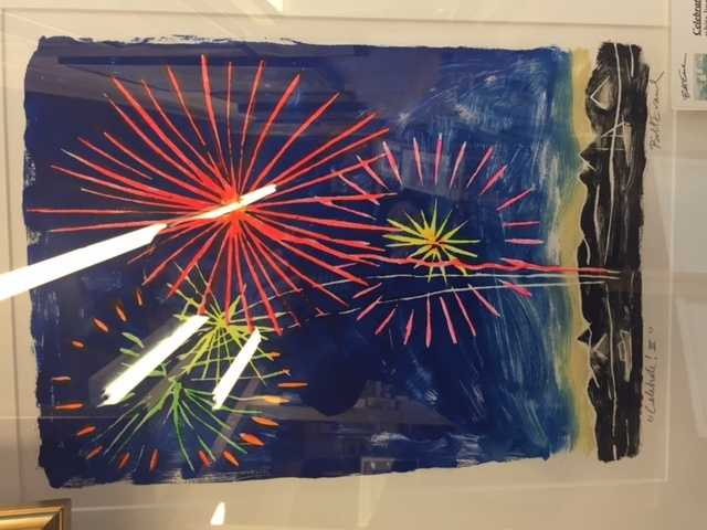 A block print from Bill Evaul.  Fourth of July fireworks?