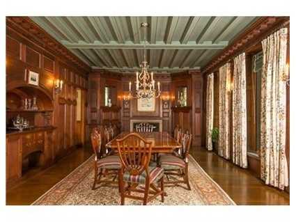 Grand foyer opens to magnificent living room, stately dining room, library & study all adorned w/distinctive fireplaces.
