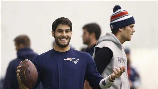"James ""Jimmy"" Garoppolo was drafted by the Patriots in the second round of the 2014 NFL Draft."