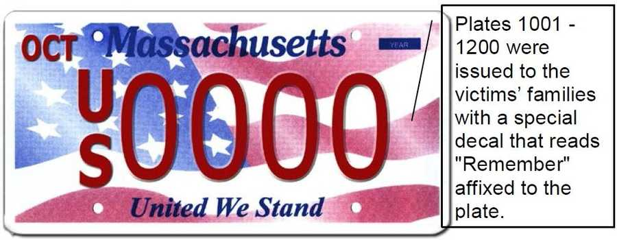 United We Stand --Proceeds from this plate go to the Massachusetts 9/11 Fund and to the Commonwealth Security Trust Fund