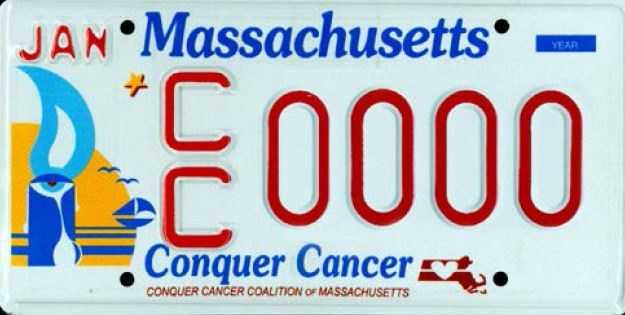 Conquer Cancer --Proceeds from this plate benefit the Conquer Cancer Coalition of Massachusetts.