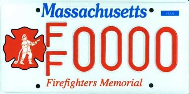 Firefighter Memorial --Proceeds from this plate benefit the Firefighters Memorial fund.