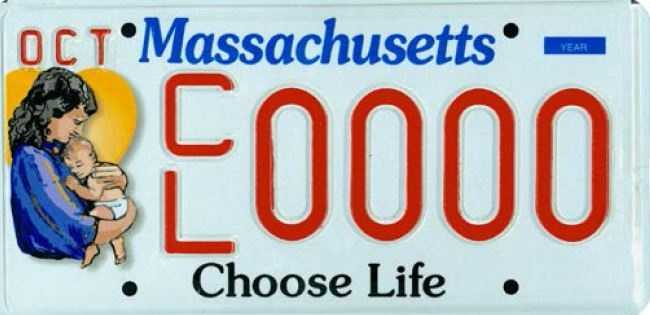 Choose Life --Proceeds from this plate will fund Choose Life, Inc, which benefits not-for-profit agencies within Massachusetts.