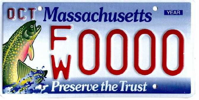 Fish and Wildlife -- Proceeds from this plate go to the Environmental Trust Fund, which provides grants for education and to preserve the Massachusetts environment.