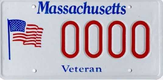 Veteran -- Issued to veterans who served in time of war. Proceeds from this plate go to the Chelsea and Holyoke Soldier's Homes.