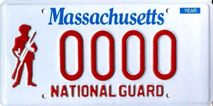National Guard --issued to anyone who serves in the Massachusetts National Guard who has a rank equal to or higher than an E2 rating.