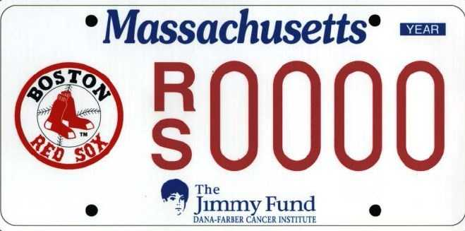 Red Sox/Jimmy Fund --Proceeds from the Red Sox plate go to the Jimmy Fund and Red Sox Foundation.