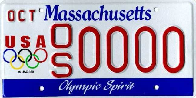 Olympic Spirit --Proceeds from this plate go to the Massachusetts Olympic Committee, which benefits the residents of Massachusetts on US Olympic teams.