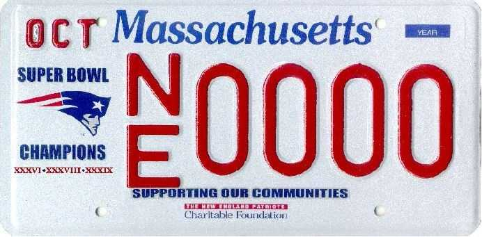 New England Patriots -- Proceeds from this plate benefit the New England Patriots Charitable Foundation.