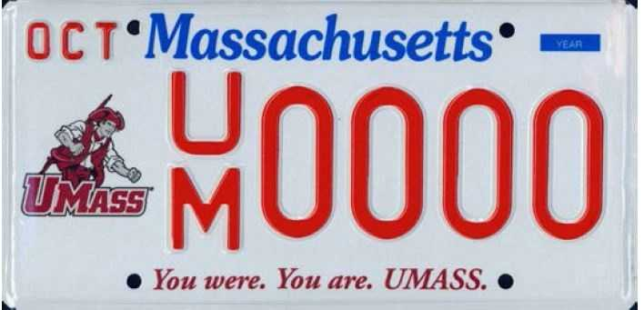 UMASS --Proceeds from this plate benefit the UMASS Alumni Association, Inc.
