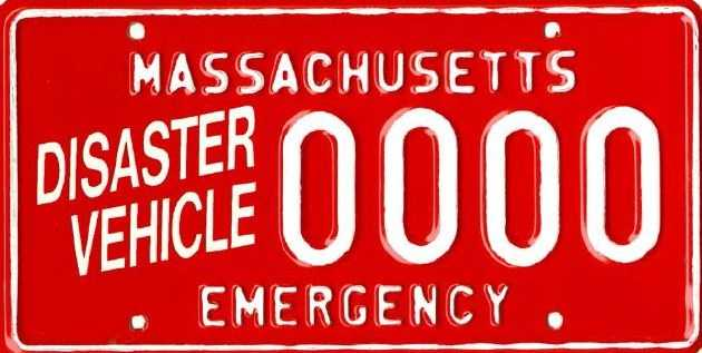 Disaster/Emergency Vehicle -- Issued to charitable organizations for special purpose motor vehicles or trailers and used for the benefit of fireman, policemen, civil defense workers, and victims of fires and disasters.
