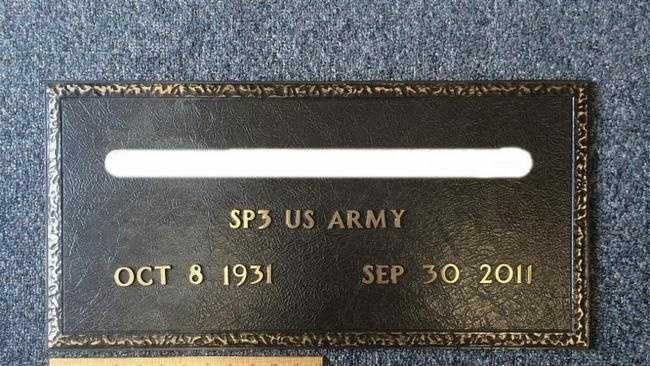 A photo of a bronze grave marker that will replace one of the three markers stolen from the High Street Cemetery in Hingham. The veteran's name has been obscured for privacy reasons.