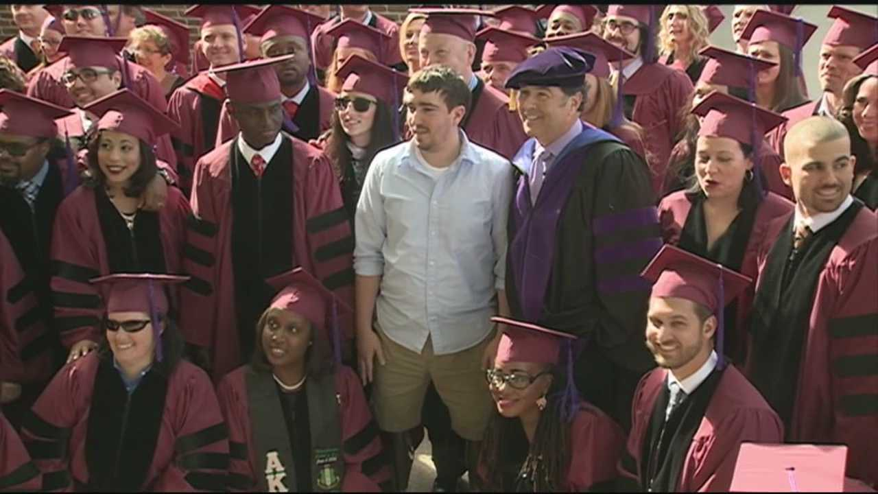 Boston Marathon bombing survivor Jeff Bauman gave a commencement address for graduates at a Massachusetts law school.