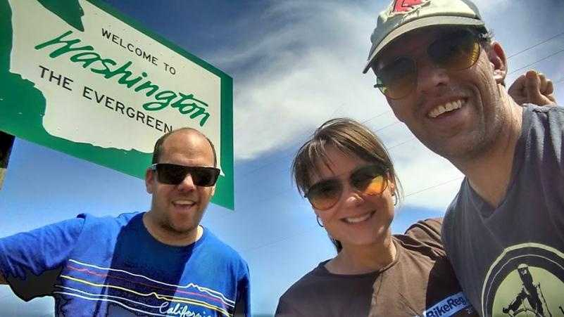 From left: Andrew Frey, Michelle Kersbergen and John Frey at the end of their journey in Washington.