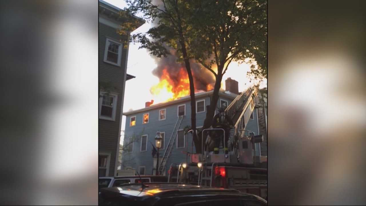 Fifteen people have been displaced after a three-alarm fire in Charlestown.