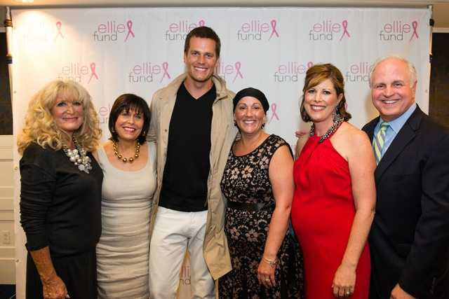 From left to right:  former NewsCenter 5 anchor Susan Wornick, Gail Fine of the Ellie Fund, Tom Brady, Donna Pyne, NewsCenter 5's Kelley Tuthill and WCVB President Bill Fine.