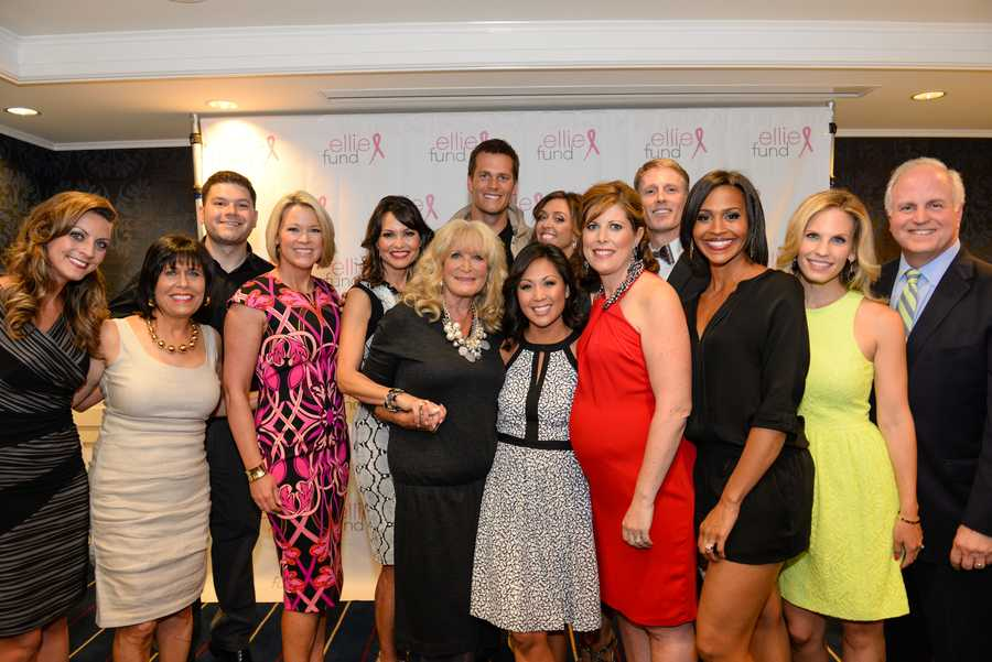 Left to right:  Olessa Stepanova, Gail Fine of the Ellie Fund, Jim Lokay, Heather Unruh, Liz Brunner, Susan Wornick, Tom Brady, Antoinette Antonio, JC Monahan, Kelley Tuthill, David Brown, Shayna Seymour, Erika Tarantal and WCVB President Bill Fine.