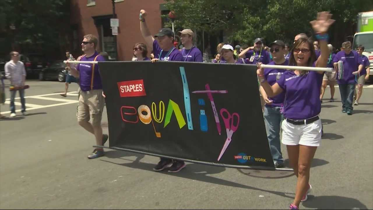 Organizers say thousands of people marched and thousand more watched as the 45th annual Boston Pride Parade stepped off in the city.