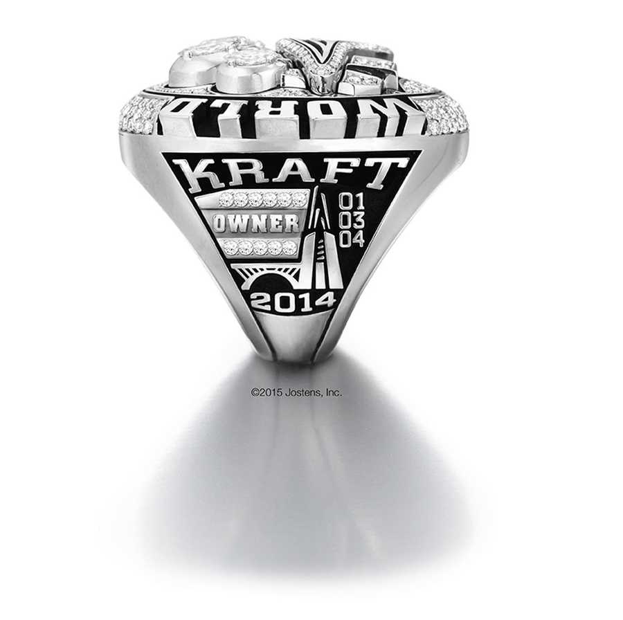 On one side, the recipient's name sits atop the ring, along with the years of the franchise's previous Super Bowl Championships in '01, '03, '04 and 2014.