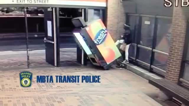 A man at the Stony Brook MBTA station succeeded in knocking the machine over causing substantial damage.   Video:  MBTA