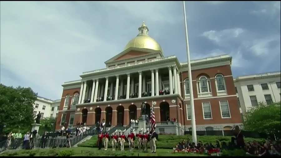 A time capsule originally dating to 1795 is returned to the granite cornerstone of the Massachusetts Statehouse for a future generation to discover.