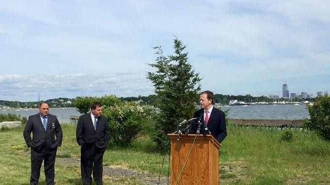 Richard Davey, chief operating officer of Boston 2024, announced a plan for a volleyball stadium in Quincy in an appearance with Mayor Thomas Koch and Norfolk County Sheriff Michael Bellotti on June 17.