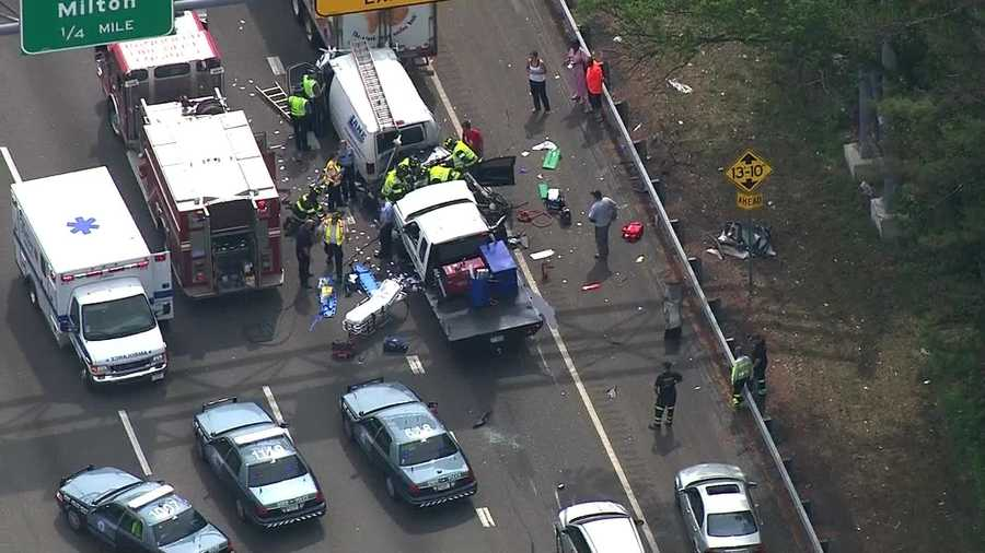A woman and child were trapped in a car that was involved in a multi-vehicle crash in Canton.