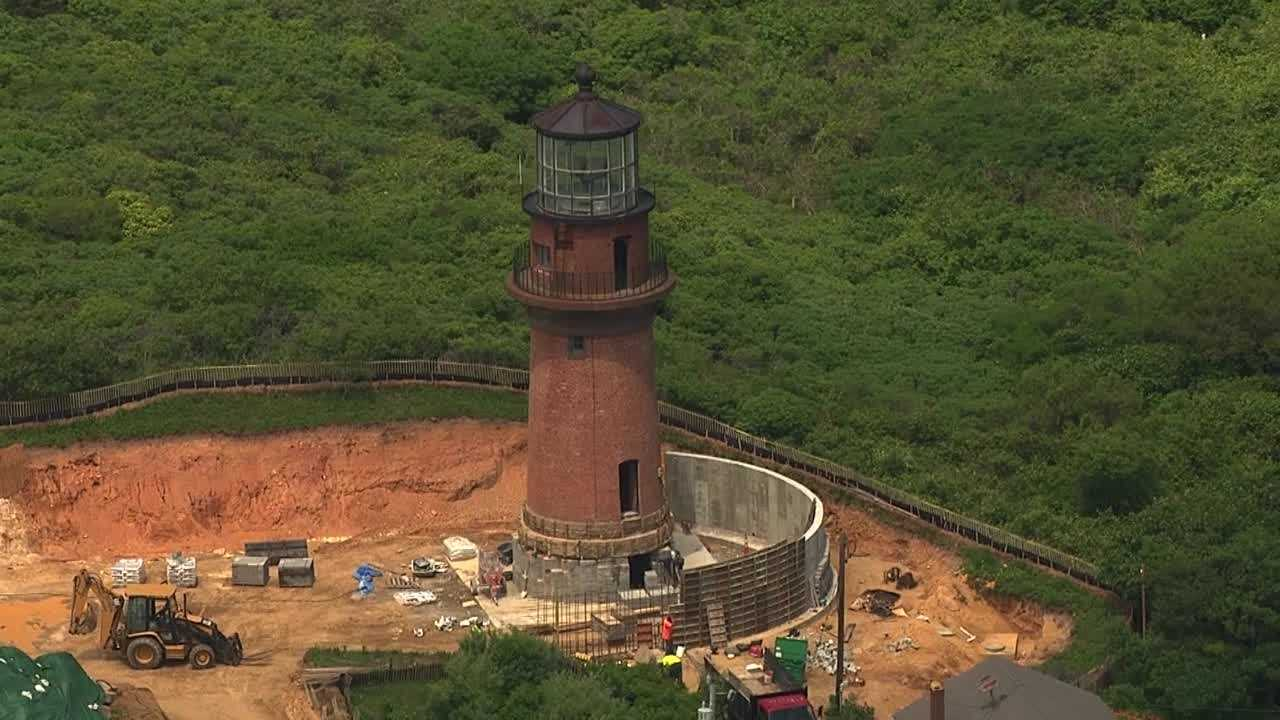 Live Sky5 was over the historic Gay Head Light as workers were putting the finishing touches on the move that prevented it from toppling into the sea.