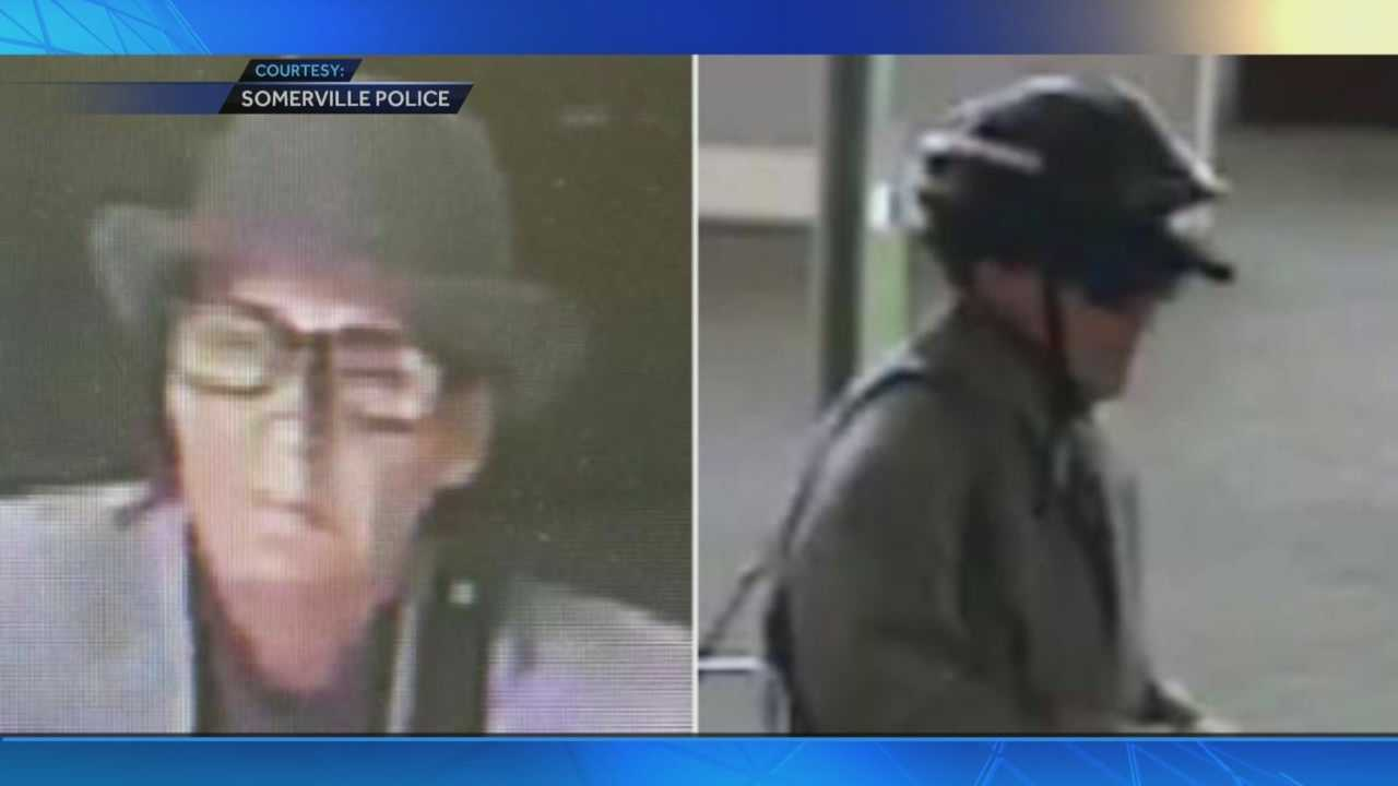 Somerville police are looking for a woman who may be as old as 70 who's suspected of robbing two banks in the city.