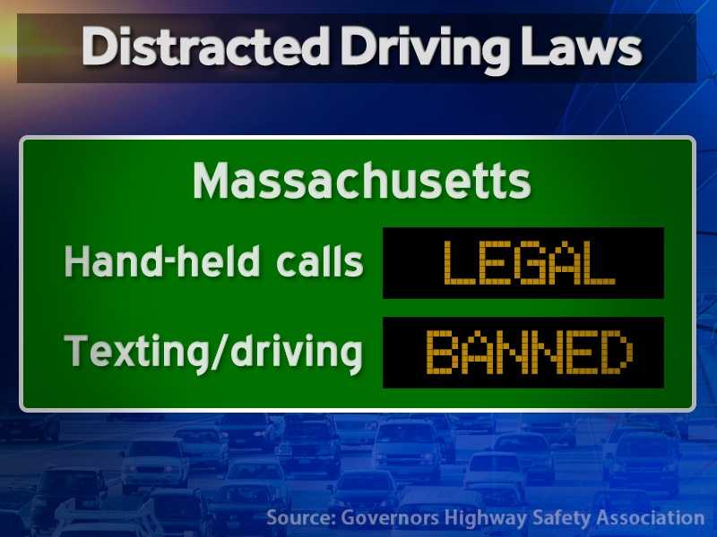 Massachusetts: Hand-held calls are legal but texting while driving is illegal.