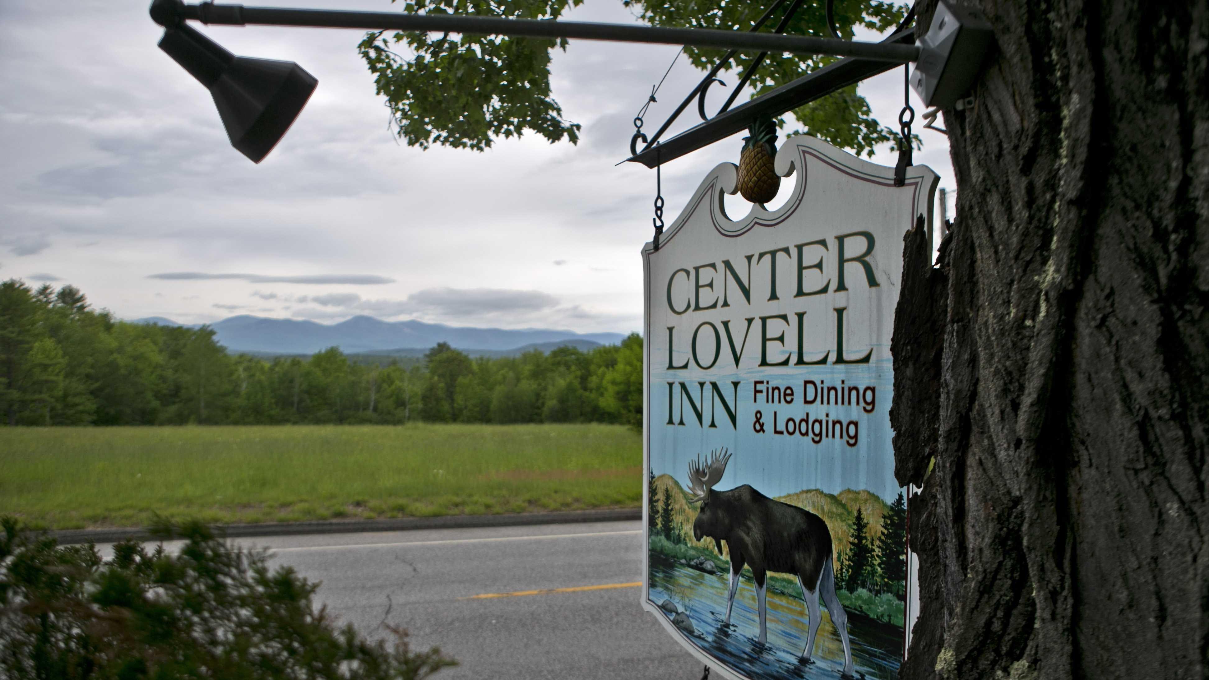 The Center Lovell Inn's roadside sign is seen Friday, June 5, 2015, in Lovell, Maine.