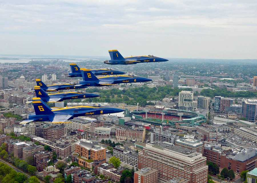 In the spirit of the Fourth of July, the U.S. Navy Blue Angels posted photos from their May flyover of Boston and Fenway Park.