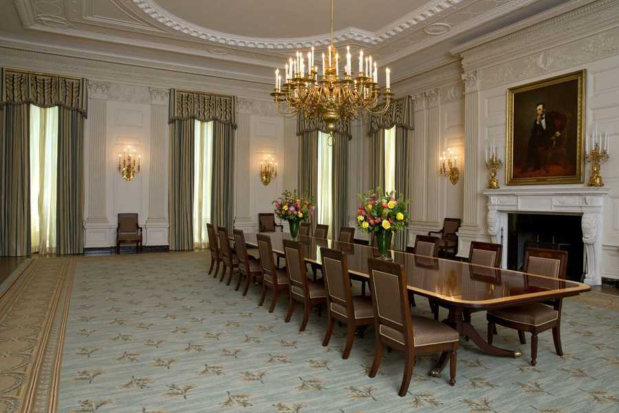 Michelle Obama has given a touch-up to the White House State Dining Room, the latest interior design change that will endure long after she leaves the building. Her modest changes to the room where many dinners and other events are held follow this year's more dramatic remake of the Old Family Dining Room and the unveiling of the Obama china service.