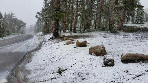 Snow in July!?  California's Department of Transportation (Caltrans) shared these photos of snow along the eastern half of the Sierra Nevada Mountains.
