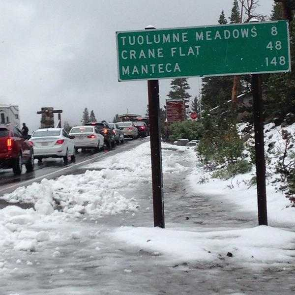 """This was the eastern entrance to Yosemite National Park """"Yes that's Snow!!! Carry Chains!"""""""