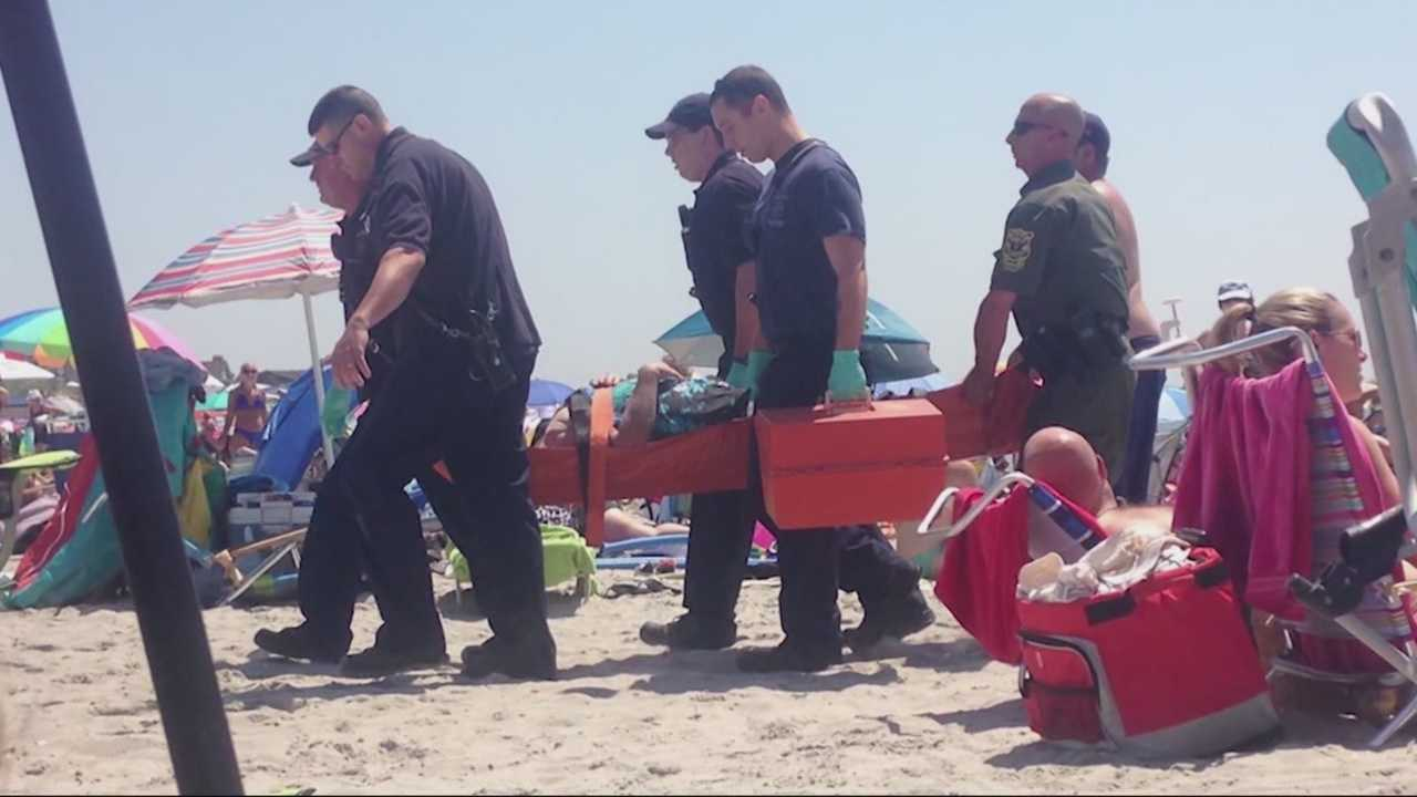 Officials are trying to determine what caused a blast that knocked a Rhode Island beachgoer to the ground, but left behind no evidence of an explosive device.